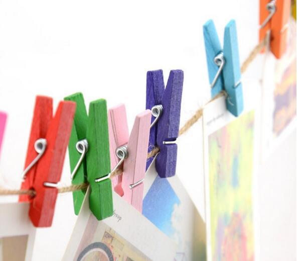 Mini Spring Clips Clothespins Beautiful Design 35mm Colorful Wooden Craft Pegs For Hanging Clothes Paper Photo Message Cards Free Shipping