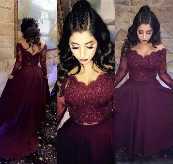 Burgundy Lace Evening Dresses Sexy Illusion Long Sleeves Prom Dress Beaded Chiffon Backless Red Carpet Party Gowns Long Homecoming Dresses