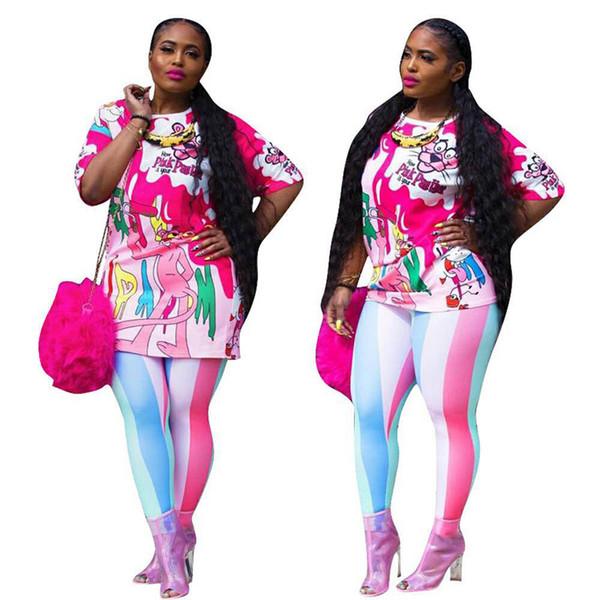 Fashion XL Plus Size Sport 2pcs Women Set Tracksuits print leisure Pullover T Shirt + Pants Jogging Suits Sportswear