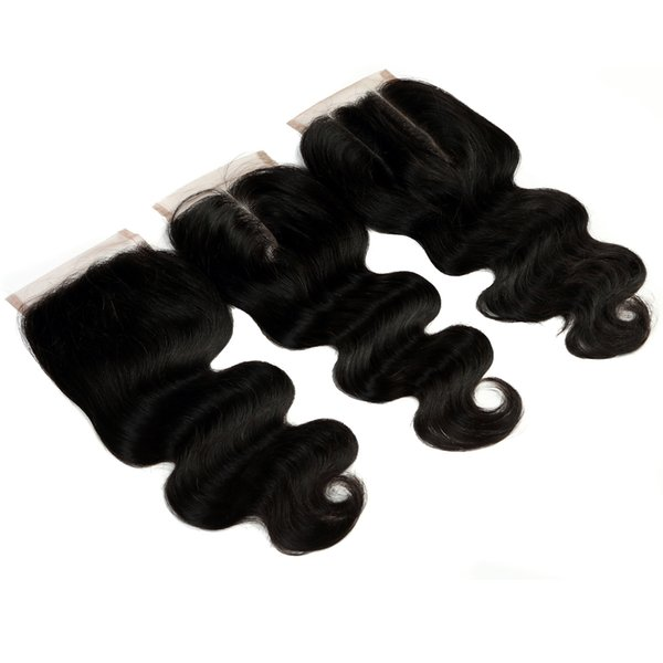 Brazilian Virgin Hair Body Wave Hair Lace Closure 4*4 Lace Closures Human Hair Weave 10-24 Inches Free Part/Middle Part/Three Part
