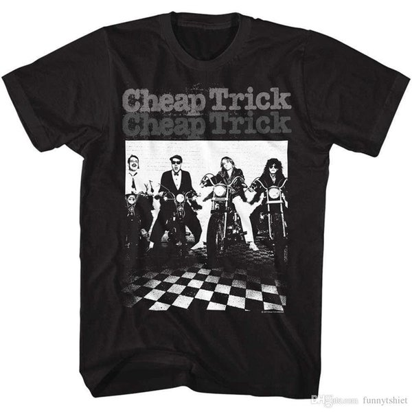 Cheap Trick Group On Motorcycles Checkered Floor Adult T Shirt Rock Music