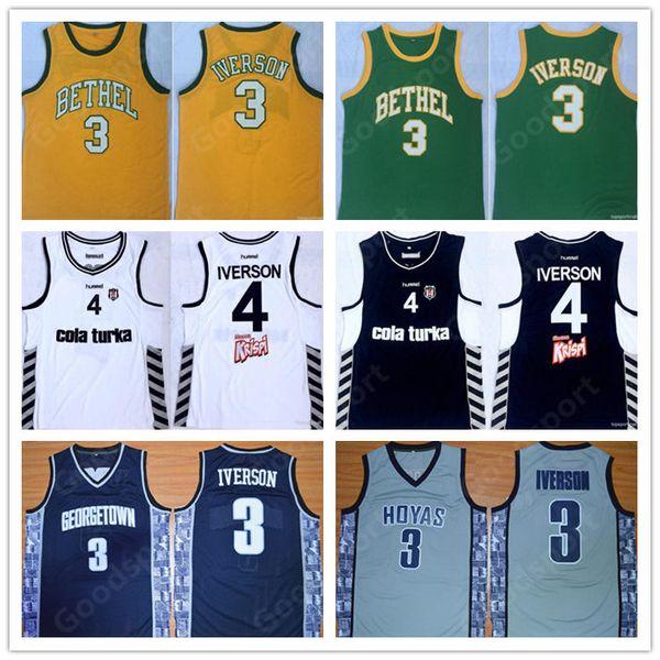 NCAA Georgetown Hoyas COLLEGE BETHEL Bordados cosidos Besiktas Cola Turka Swingman jerseys Jersey 3 Allen Iverson CAMISAS regalo 19