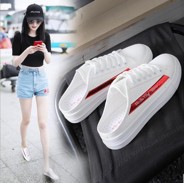 Best selling new spring and summer 2019 summer canvas shoes female students lazy no later with half drag small white breathable shoes