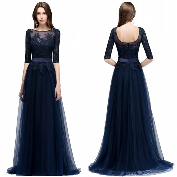 2018 Evening Prom Dresses A Line Sheer Half Sleeves Appliques Backless Long Front Split Evening Robe de soriee CPS470