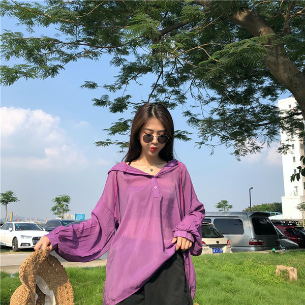 Product loose hooded fat younger sister summer bask in garment fashion sun-protective clothing han edition big yards dress shirt