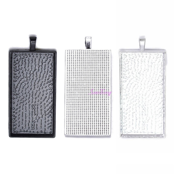 5pcs 24*48mm Silver Plated Rectangle Bazel Settings Blank Pendant Base Trays For Glass Cabochons or Stickers