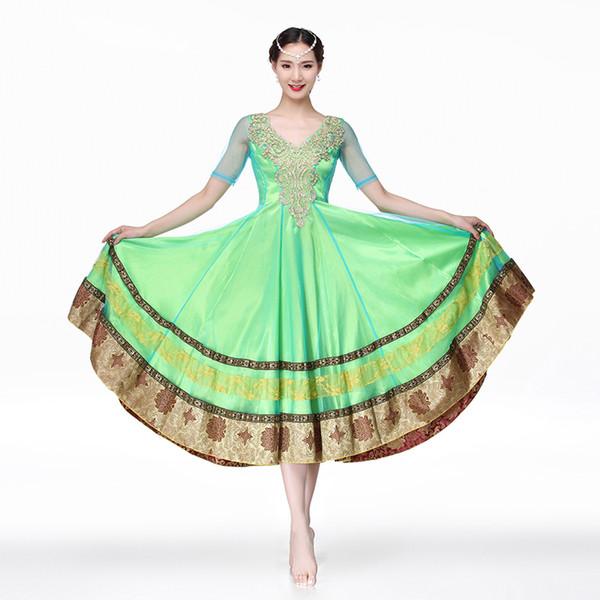 Kostüm Bollywood Elbise Oryantal Dans Ulusal Dans Kostüm Bellydance Kostümleri Uzun Etekler Elbise Yetişkin Hint Tarzı Suits