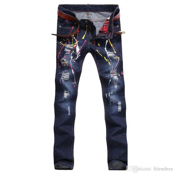 lo último 08db8 67a35 Compre Pantalones Vaqueros De Mezclilla De Los Hombres Pantalones Pintados  De La Impresión De Hip Hop Pantalones De Los Hombres Pantalones De La ...