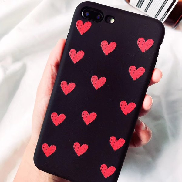 For Apple iphone X 6 6S 7 8 Plus Xs Max Xr Case Fashion Creative Heart PC Silicone Back phone Cases Cover Shell