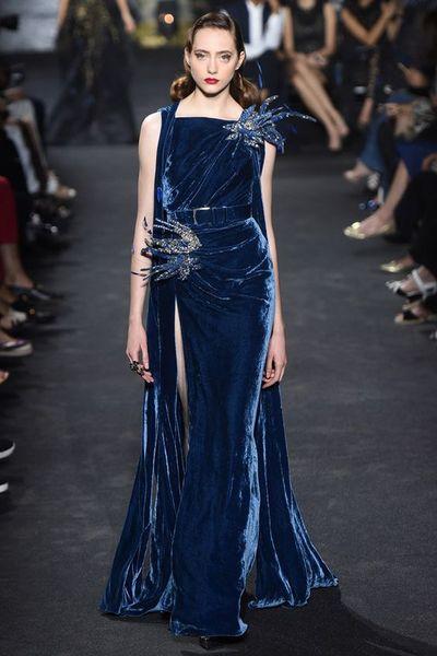 Gorgeous Navy Blue Velvet Evening Dresses Bateau Neck Formal Prom Gown Front Split Floor Length Celebrity Party Dress Special Decoration