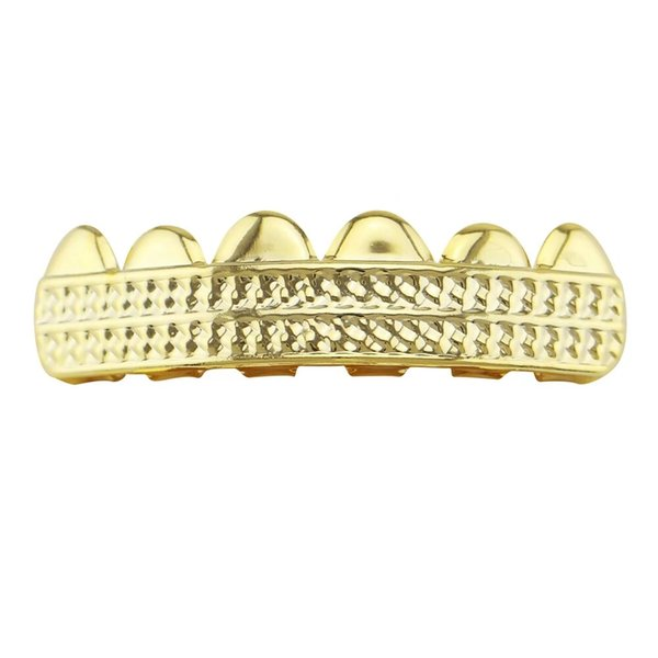 hip hop grillz lattice glossy twill maple leaf stripe carving pattern dental grills real gold plated cool rapper body jewelry freeshipping