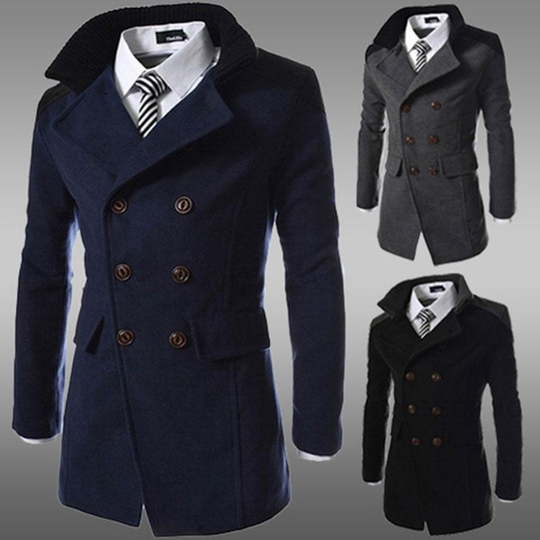 fashion winter long trench coat men double breasted wool blend overcoat for men black plus size M-3XL