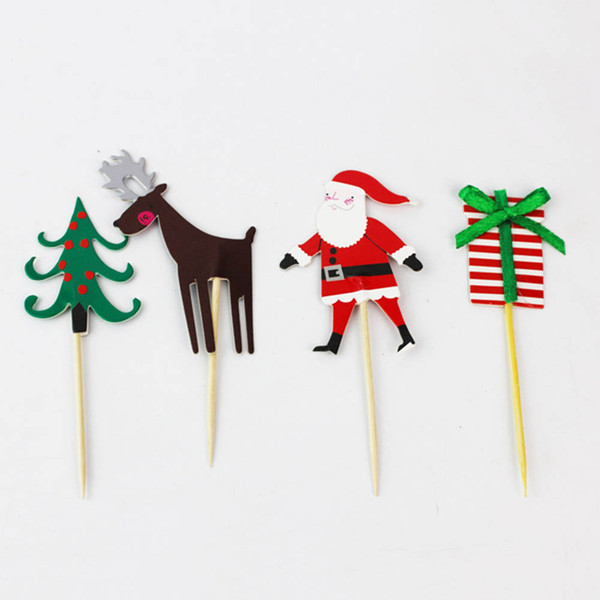 24pcs/lot Christmas Heart Cake topper pick Toppers Party Supplies Birthday Wedding Cupcake Decorating toothpick inserted card
