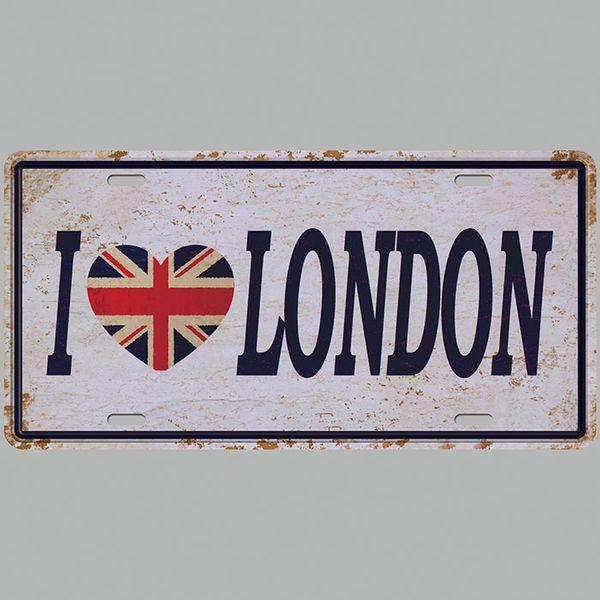 I Love London 3D Emboss Car Plates Number USA License Plate Garage Plaque Metal Tin Sign Bar Decoration Vintage Home Decor