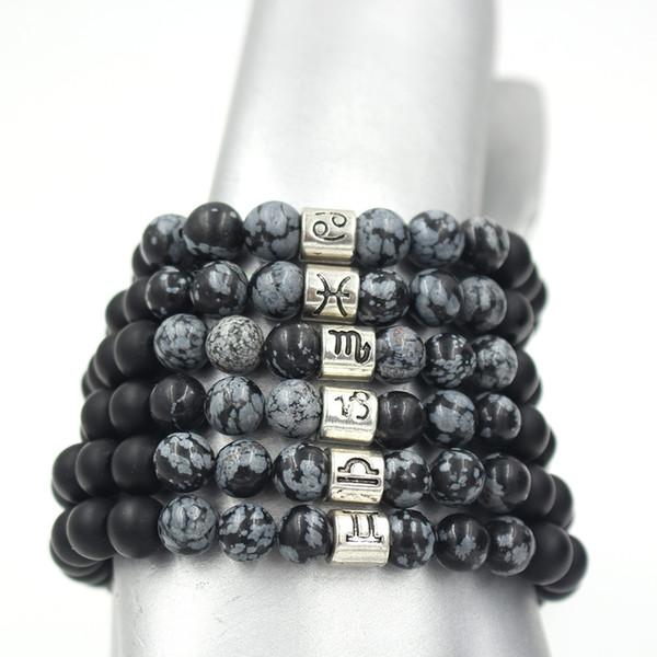 TANGYIN Simple Charm 12 Constellation Bracelet Black Scrub Stone Beads Cancer Pisces Capricorn Libra Beaded Bracelet Women Men