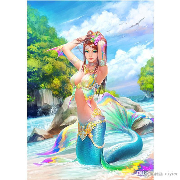 Mermaid 5D DIY Diamond Embroidered Full Square Diamond Painting Color Cartoon Character Cross Stitch Gift Pendant Home Party Decoration