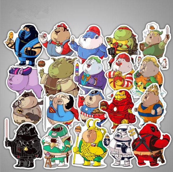 32Pcs/lot Cute Fat Hero Funny Stickers Decal For Car Laptop Bicycle Cellphone Motorcycle Pad Waterproof Toy Stickers