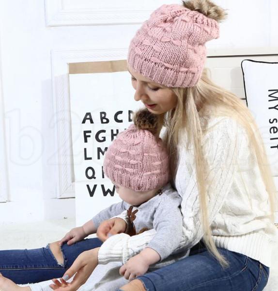 Compre 2 Unids / Set Mamá Y Bebé Tejiendo Sombrero De Lana Del Bebé ...
