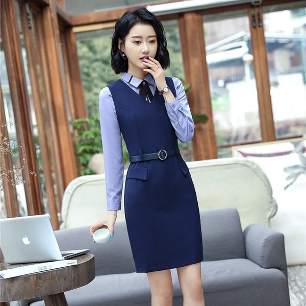 2018 New Styles Uniforms Styles Blazers Suits With Blouses And Dress For Ladies Office Work Wear Dresses Sets Plus Size