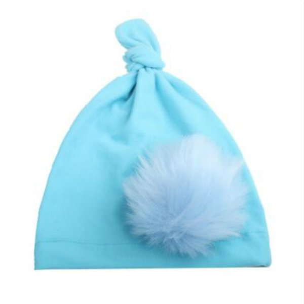 on sale 1pcs Newborn Knitting Hat Bohemia India turban knot Hats Beanies Photography Props photo Gorro Fur Ball Cap