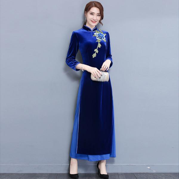 2018 Sommer Charming Retro chinesischen Frauen Velour Cheongsam Kleid QiPao lange Party Wear Cheongsams Kleider für Frauen Aodai Kleid