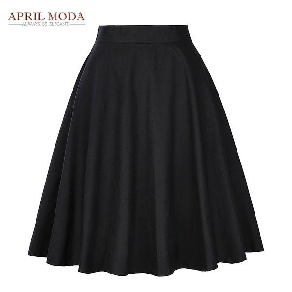 a4fd73670c Elegant High Waist Pleat Skirt Black Knee Length Flared Skirts Retro Vintage  50s Rockabilly Swing Skirts