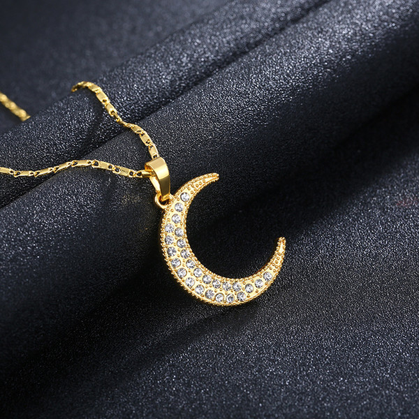 Hot sale vogue new product exquisite gold plated totem moon model diamond male / female gold silver fashion necklace sweater chain A254#