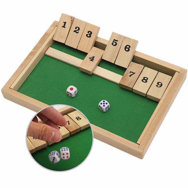 Al por mayor- Classic Shut The Box Juego de mesa de madera Dice Pub Family Kids Toy Regalo de Navidad Juguetes educativos Mejor regalo para niños Niños