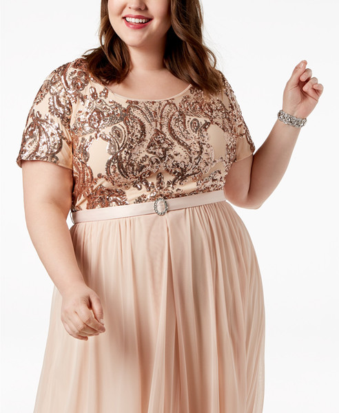 2019 R&M Richards Mother Of The Bride Dresses Plus Size Belted Sequin Bodice Gowns A Line Chiffon Short Sleeves Mothers Dress