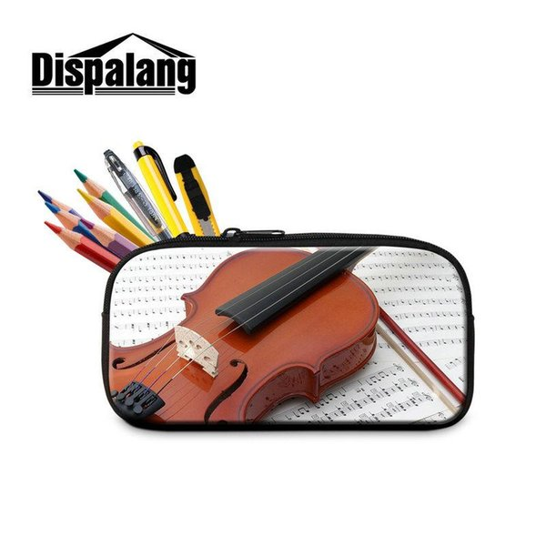 3D Violin Printed Pen Bag Student Stationery Gift For Preschoolers Creative Design Music Pencil Case Cosmetic Bags For Women Child Pen Pouch