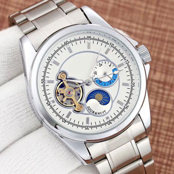 all dials work business men's watches luxury mechanical automatic moon phase flywheel full stainless steel band brand watch for men 2019