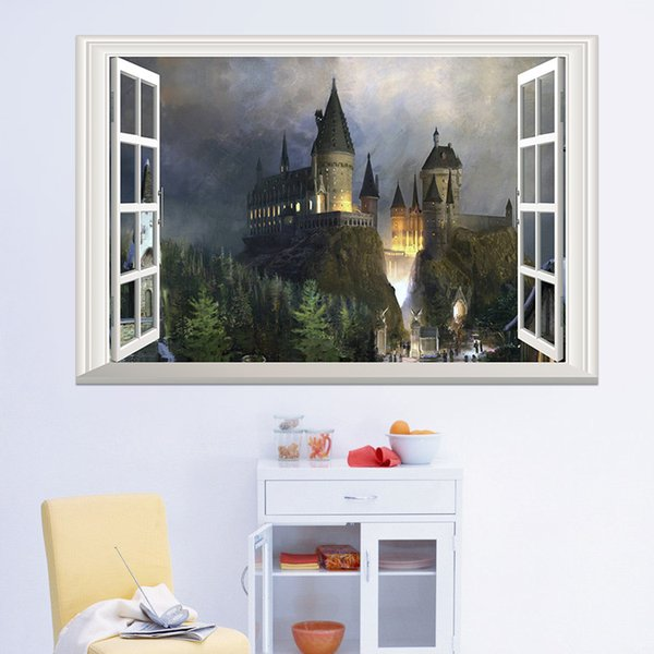 Removable Castle wall stickers for kids 3D window view wall decal Magic College Castle Wall Stickers Decor Art Mural Wallpaper 50*70cm