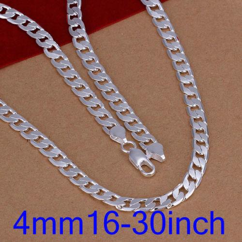 Fine 925 Sterling Silver Necklace,XMAS New 925 Silver 4MM 16-30Inch Curb Chain Necklace For Women Men Fashion Jewelry 2018 Link Italy XZN132