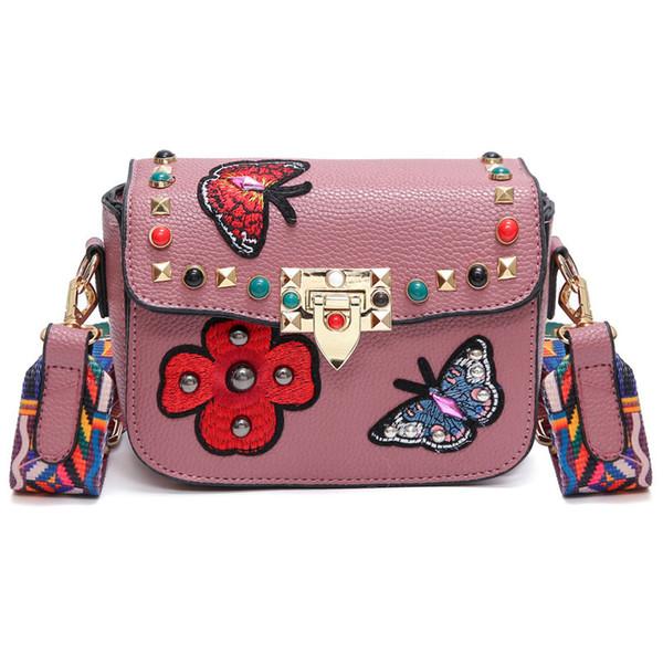 2018 Schmetterling Tier Muster Mode Mini Frauen Taschen Nieten Stickerei Floral Bag Designer PU Leder Crossbody Taschen Sac Ein Haupt