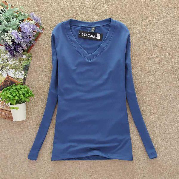 Yeni Sonbahar Kış T Shirt Kadın Temel Uzun Kollu V Yaka Şeker Renk T-Shirt Yüksek Elastik Dip Kadın T-shirt Tees Tops