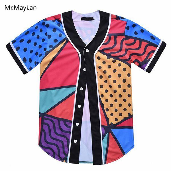Hipster Colorful Print 3D Streetwear T shirt Men Baseball Jersey Button Short Sleeve Cardigan T-shirts Boys Fashion Tee Clothes