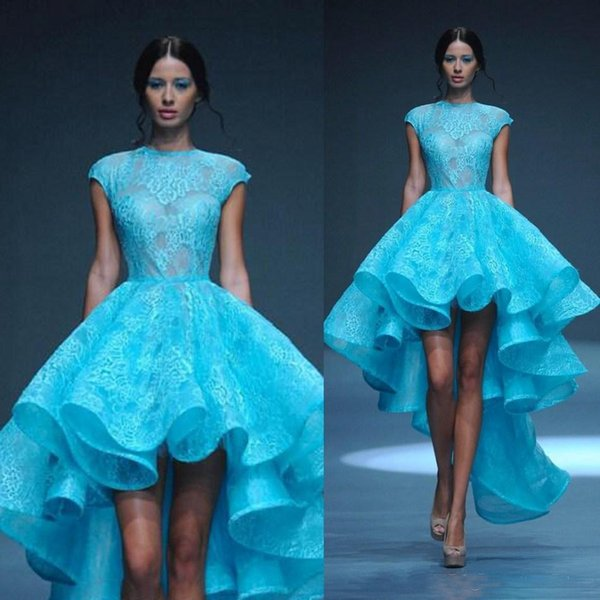 Vintage Lace High Low Prom Dresses with Sheer High Neck Cap Sleeve See Through Hi-Lo Sky Blue Skirt Short Homecoming Gowns