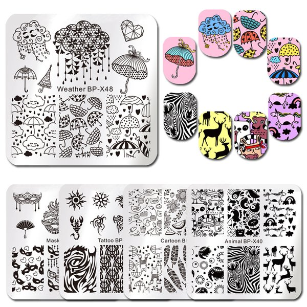 BORN PRETTY Unicorn Square Nail Stamping Plates Cute Rain Cartoon Animal Patterns Nail Art Image Template for Manicure DIY