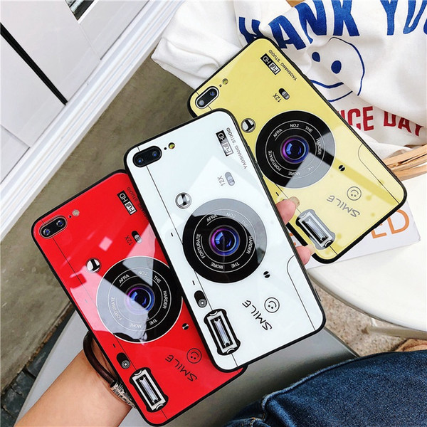 Camera Pattern Phone Case For iPhone X XR XS MAX Tempered Glass Hard Shell Cover For iPhone 7 8Plus 6 6s
