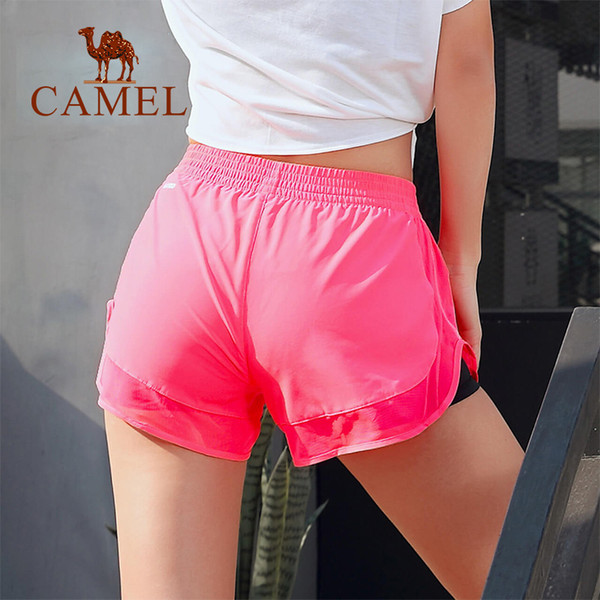 CAMEL Yoga Women Sport Shorts Women Casual Gym Clothes Fitness Running Breathable Sports Short Solid Color For Ladies