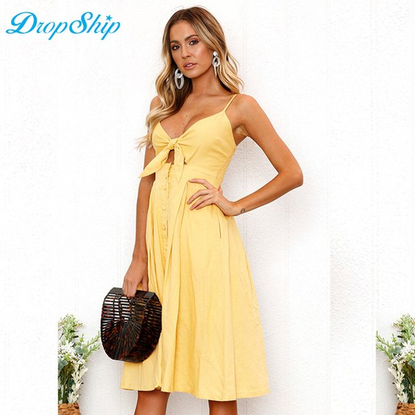 ee1d3937610 Dropship Women Lace Up Cami Summer Dress Sexy Backless Dresses Sleeveless  Solid Bow Beach Dress Party