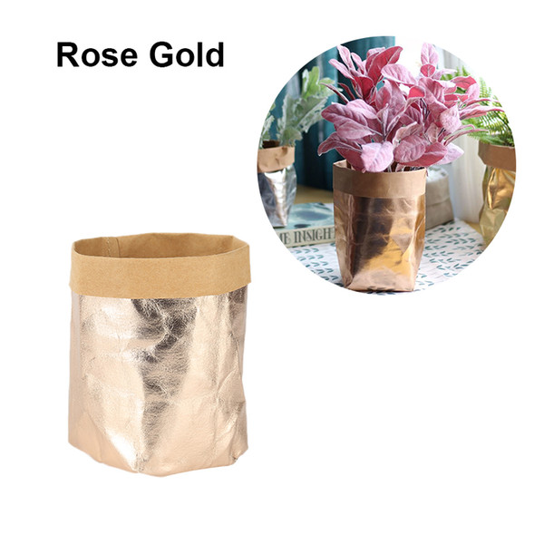 Washable Kraft Paper Bag Plant Flowers Pots Multifunction Home Storage Bag Reuse Shimmering Rose Gold paper