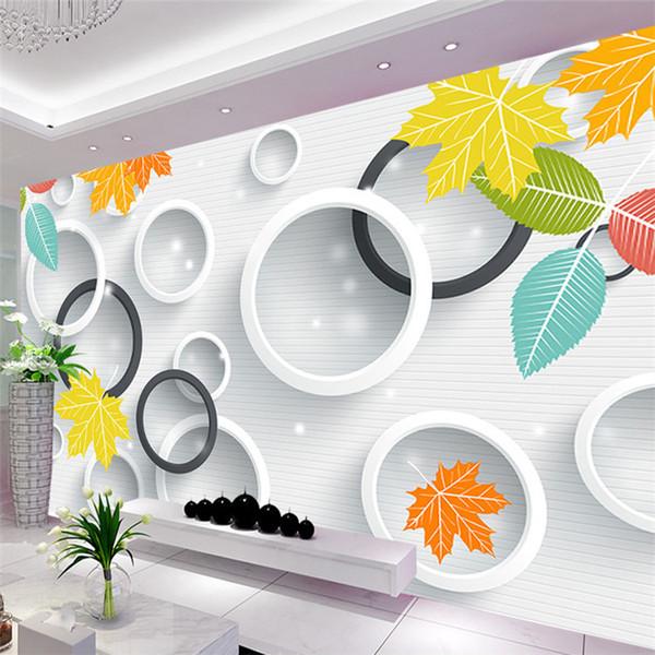 Custom 3D Photo Wallpaper 3D Circles Leaves Modern Simple Art Living Room  TV Backdrop Wall Paper Mural Painting Papel De Parede Kids Wallpaper  Kitchen