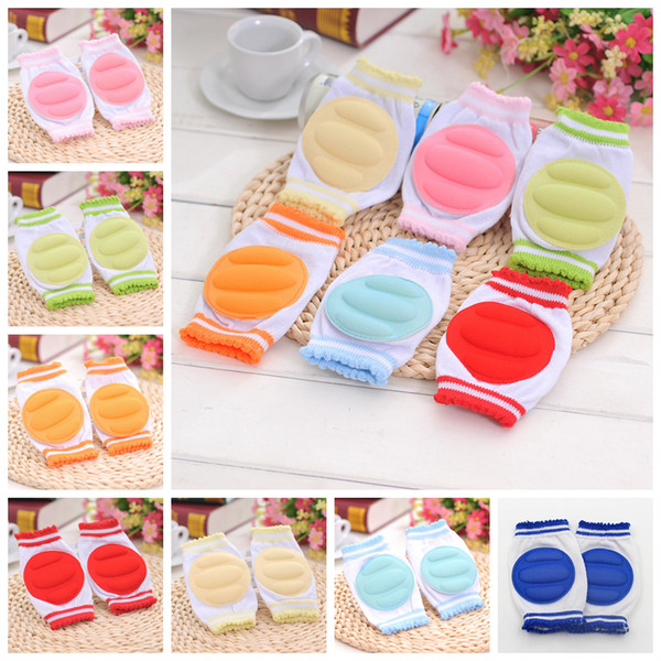 best selling 7 colors Toddlers knitting Sponge kneepads baby anti-slip Knee Pads infants crawling safty protection props knitting elbow pad mat AAA497