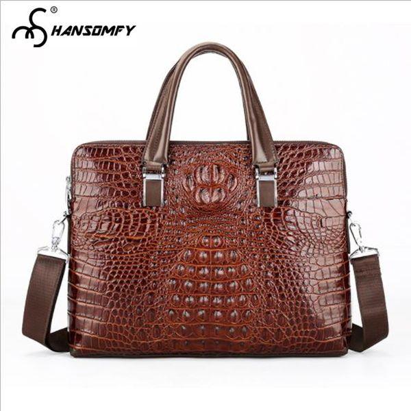 Krokoprägung Männer Handtasche Laptoptasche Querschnitt Echtes Leder große Kapazität Aktentasche Business Schulter Messenger Bags