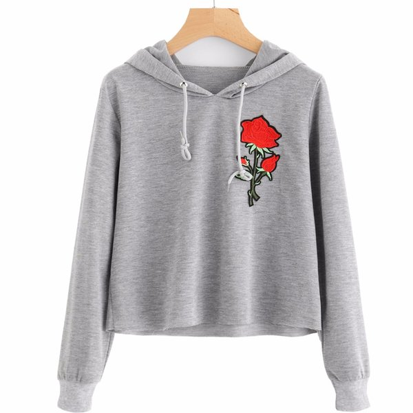 2018 Autumn Short Sweatshirt Women Tops Floral Embroidery Patch Ladies Cropped Hoodies Long Sleeve Gray Crop Top Girls