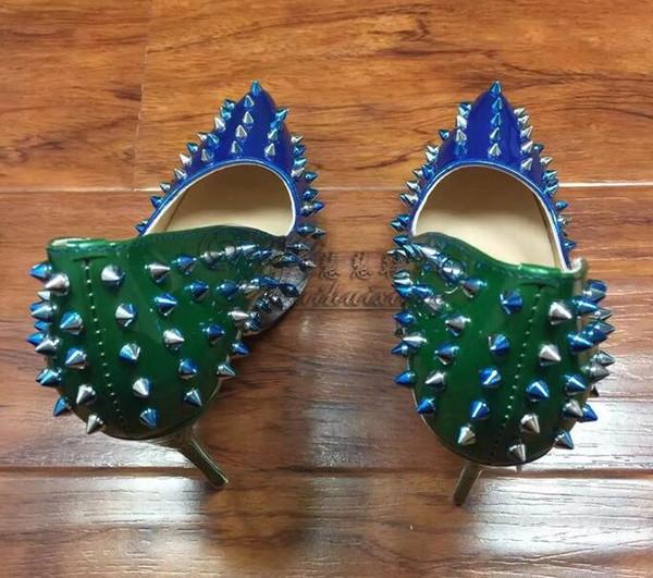 Marke Glitter Spikes Frauen Sommer Schuhe besetzt Nieten Silber Gold Heels Schuhe Frauen große Größe 35-44 Stiletto Schuhe mit Box