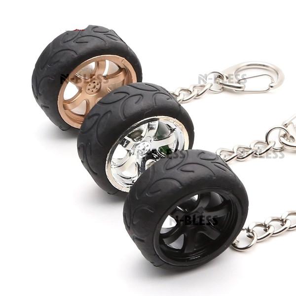 Car Keychain Wheel Hub Car-styling Metal Key Chain Holder Keyring Hellaflush Plastic Rubber Auto car wheel keychain