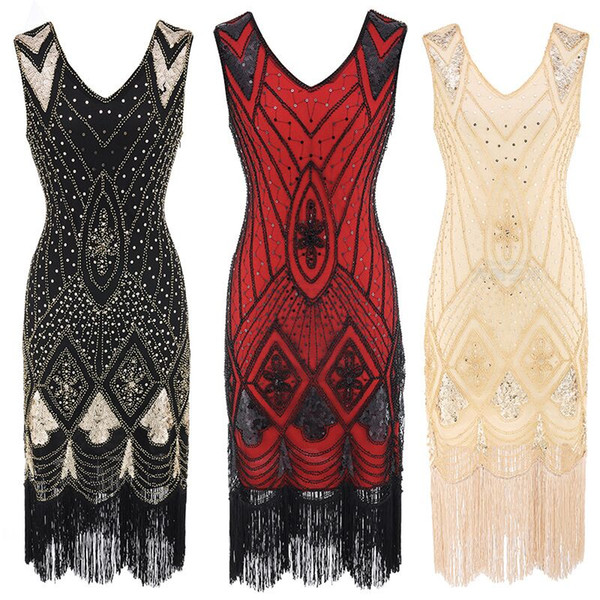 Sexy Women 1920 s Gatsby Dress Beading V Neck Vintage Tassel Stripe Sequin Draped Fringe Flapper Dress Summer Party Dresses