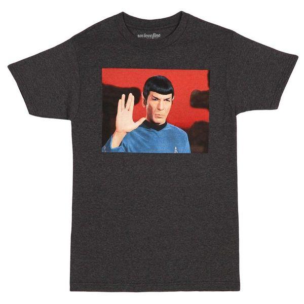 Star Trek Spock Live Long and Prosper Mens Charcoal Grey T-Shirt